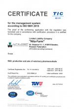 Certificate for the management system according to ISO 9001 2015, Nita-Farm